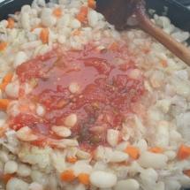 Beans, sauerkraut, red hot pepper, pickled tomatoes