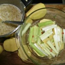 Potatoes, leeks and a Dijon mustard