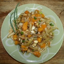 Spaghetti with fennel and butternut squash